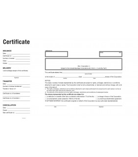 Share Certificate Template (CANADA BUSINESS CORPORATION ACT)
